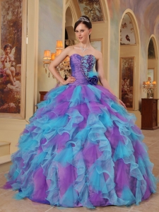 Ruffles Multi-colored Quinceanera Dress Sweetheart
