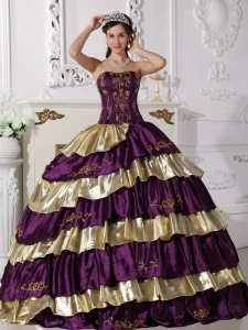 Purple and Gold Ball Gown Quinceanera Dress Embroidery