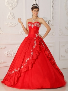 A-Line Sweetheart Red Quinceanera Dress Embroidery Beaded