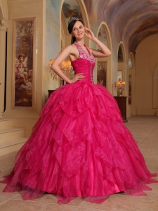 Hot Pink Ball Gown Quinceanera Dress Halter Embroidery