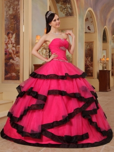 Strapless Hot pink Appliques Quinceanera Dress Ball Gown