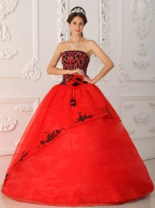 Satin Organza Quinceanera Ball Gown Dress Red and Black