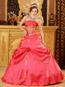 Ball Gown Beading Appliques Quinceanera Dress Hot Pink