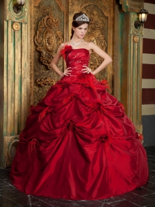 Hand Made Flowers Strapless Quinceanera Dress Wine Red