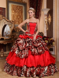 Leopard Red Ball Gown Strapless Pick-ups Quinceanera Dress