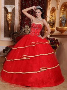 Satin Tulle Ball Gown Beading Red Quinceanera Dress