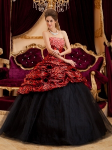 Red and Black Zebra Hand Made Flowers Quinceanera Dress