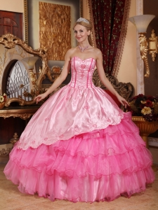 Taffeta Oragnza Rose Pink Quinceanera Dress Embroidery