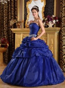 Pick-ups Quinceanera Dress Blue Ball Gown Strapless