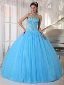Ball Gown Sky Blue Sweetheart Quinceanera Dress Beaded
