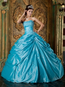 Aqua Ball Gown Blue Appliques Quinceanera Dress Strapless
