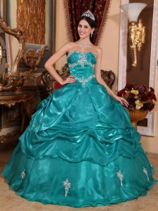 Turquoise Appliques Quinceanera Dress Ball Gown Strapless