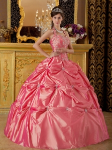 Halter Tafftea Appliques Watermelon Quinceanera Dress