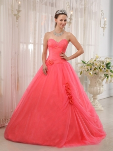 Quinceanera Dress Watermelon Red Ball Gown Beaded