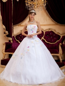 Princess White Quinceanera Dress Colorful Appliques