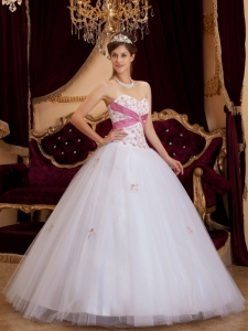 Appliques A-line White and Pink Quinceanera Dress