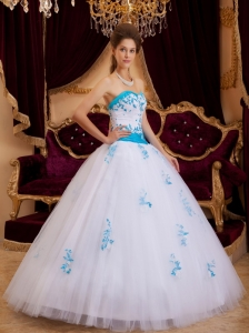 White and Blue Sweetheart Tulle Appliques Quinceanera Dress