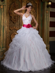 A-line Halter White Organza Beading Quinceanera Dress