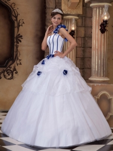 One Shoulder White Hand Made Flowers Quinceanera Dress