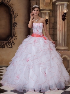 White Organza Ruffles Embroidery Quinceanera Dress Sash