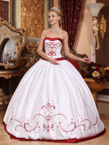 Strapless Embroidery Quinceanera Dress White and Red