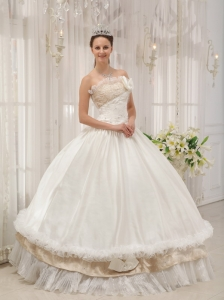 Beading Ruch Ivory Quinceanera Dress Ball Gown Taffeta
