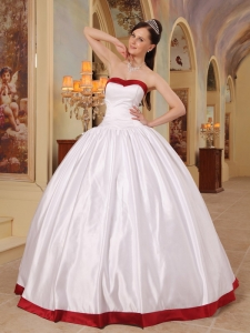 Ball Gown Quinceanera Dress White and Red Sweetheart