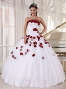 White and Wine Red Ball Gown Strapless Hand Made Flowers