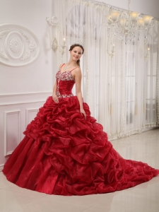 Wine Red Ball Gown Spaghetti Straps Court Train Organza Beading