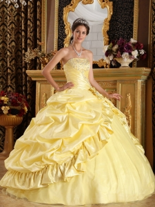 Yellow Quinceanera Dress Ball Gown Beading Pick-ups