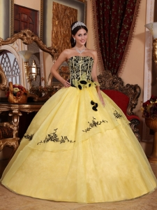 Yellow and Black Embroidery Quinceanera Dress Ball Gown