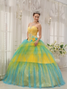 Yellow and Blue Tulle Beading Ruch Quinceanera Gown Dress
