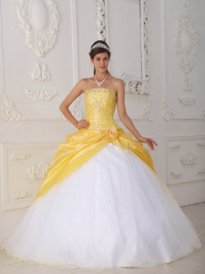 Yellow and White Quinceanera Dress Appliques Hand Flower