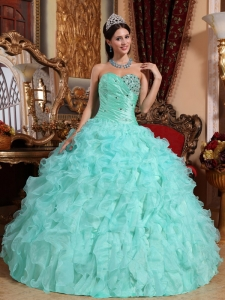 Sweetheart Organza Beading and Ruffles Quinceanera Dress