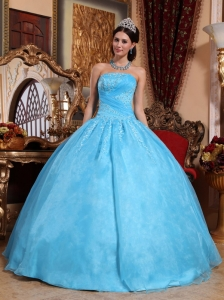 Aqua Blue Ball Gown Strapless Appliques Quinceanera Dress