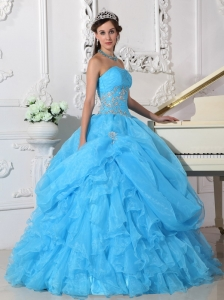 Ruffles Beading Aqua Blue Quinceanera Dress Strapless