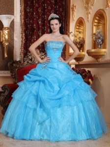 Aqua Blue Organza Beading Quinceanera Dress with Pick Ups
