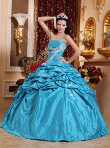 Blue Ball Gown Pink Ups Taffeta Appliques Dress for Quinceanera