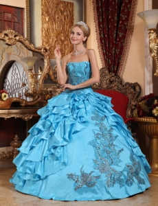 Aqua Blue Ball Gown Strapless Taffeta Appliques Quinceanera Dress