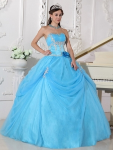 Aqua Blue Appliques and Hand Made Flower Sweet 15 Dress