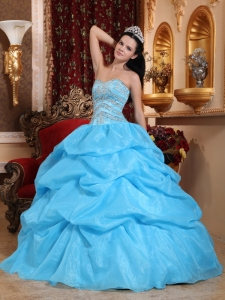 Sweetheart Organza Beading Aqua Blue Quinceanera Dress