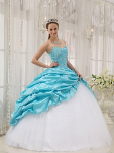 Aqua Blue Sweetheart Taffeta and Tulle Beading Quinceanera Gown