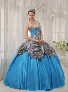 Aqua Blue Taffeta and Zebra or Leopard Ruffles Sweet 16 Dress