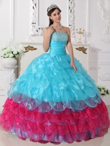 Aqua Blue and Hot Pink Organza Appliques Sweet 16 Dress