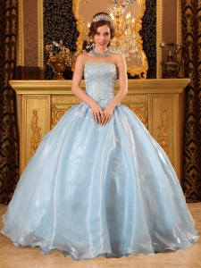 Light Blue Strapless Organza Overlay Beading Dress for Quinceanera