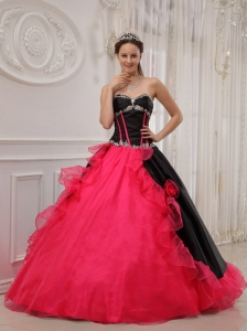 Sweetheart Red and Black Appliques Dress for Quinceanera