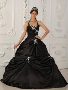 Black Halter Appliques Quinceanera Dress with Pick Ups