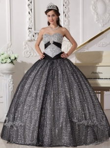 Appliques Black Sequined Quinceanera Dress Sweetheart Tulle