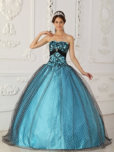 Black and Blue Strapless Beading and Appliques Quinceanera Gown