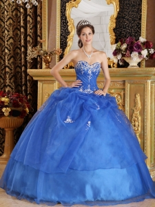 Blue Ball Gown Sweetheart Organza Appliques Quinceanera Gown
